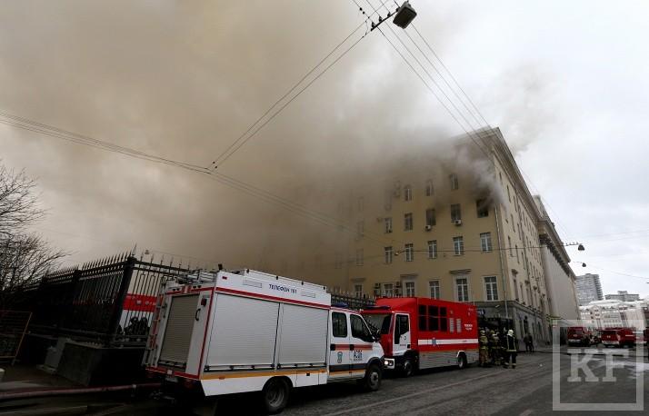 Открытый огонь в здании Минобороны ликвидирован