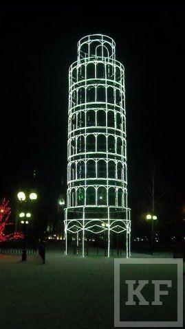 Эволюция новогодних  городков ТАИФ-НК - от маленькой  башни Сююмбике до самой большой ёлочной игрушки в мире
