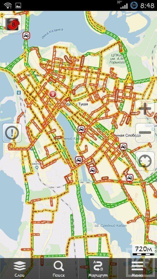 Уровень пробок на дорогах Казани достиг сегодня 9 баллов