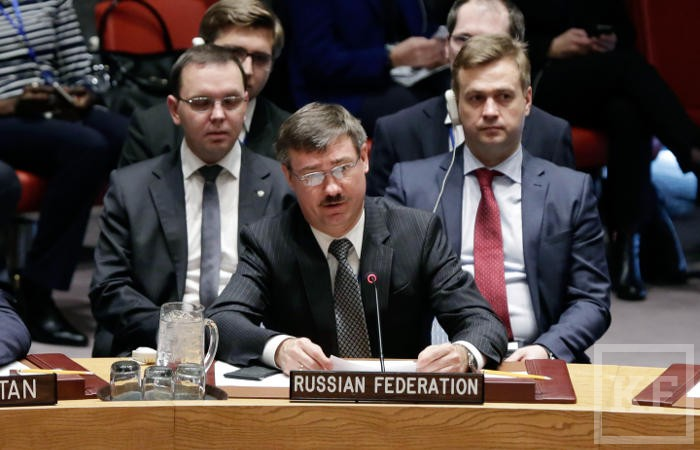 Russia's Deputy Permanent Representative Petr Iliichev, center, delivers his remarks after a moment of silence in the U..N. Security Council, Tuesday, Feb. 21, 2017. Vitaly Churkin, Russia's ambassador to the United Nations since 2006, died suddenly after falling ill at his office at Russia's U.N. mission Monday.He was the longest-serving ambassador on the Security Council, the U.N.'s most powerful body.  (AP Photo/Richard Drew)