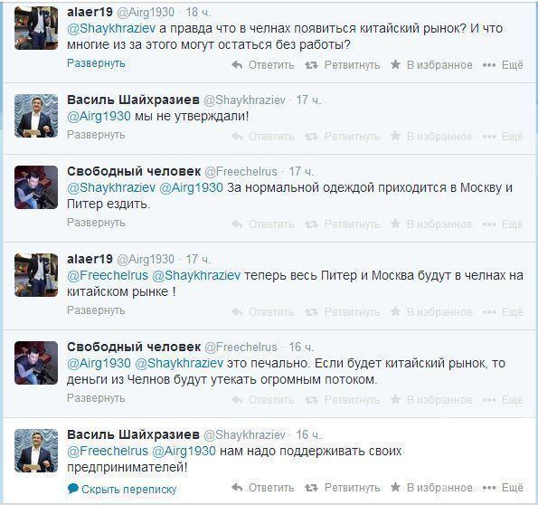 В твиттере Шайхразиева жители Набережных Челнов высказались против появления китайского рынка