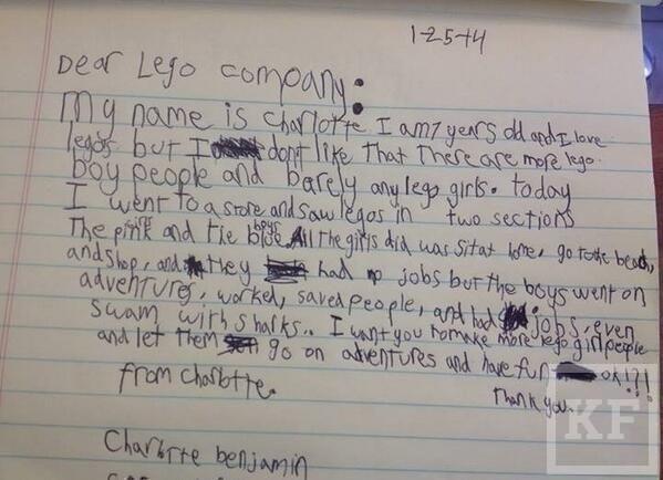 Семилетняя девочка недовольна проявлением сексизма в игрушках Lego