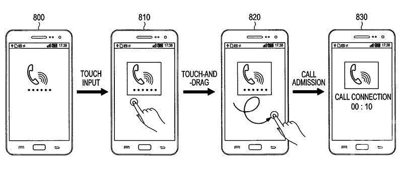 Samsung запатентовал метод управления смартфоном с помощью рисования кривых линий