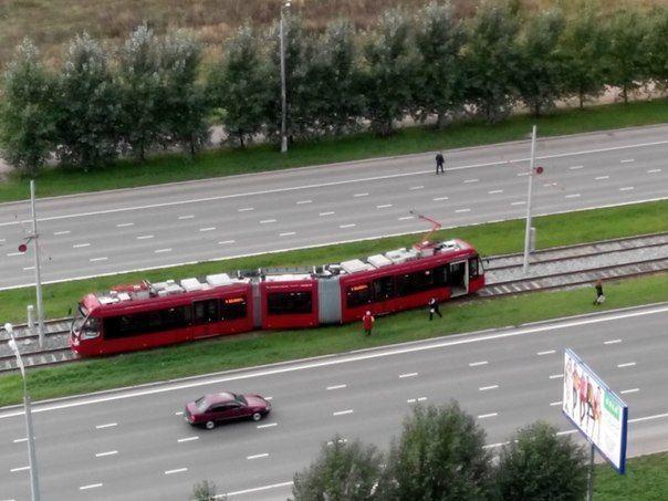 В Казани сошел с рельс скоростной трамвай