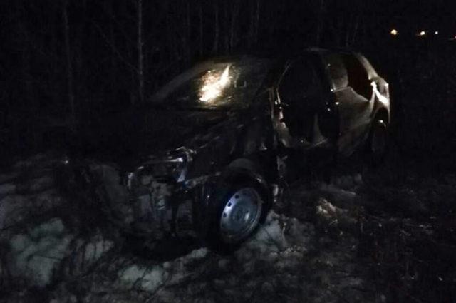 ВТатарстане натрассе молодая автоледи наиномарке вылетела вкювет