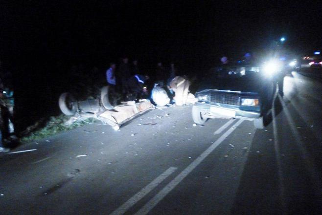 Появились фото, как вТатарстане машина сбила лошадь ителегу слюдьми